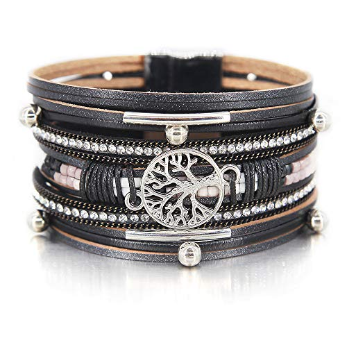 Black Tree of Life Bracelet Bead Tube Resin Bracelet Clear Rhinestone Wrap Bracelet Leather Cuff Bracelet Braided Bracelet Boho Jewelry for Women Teen Girls