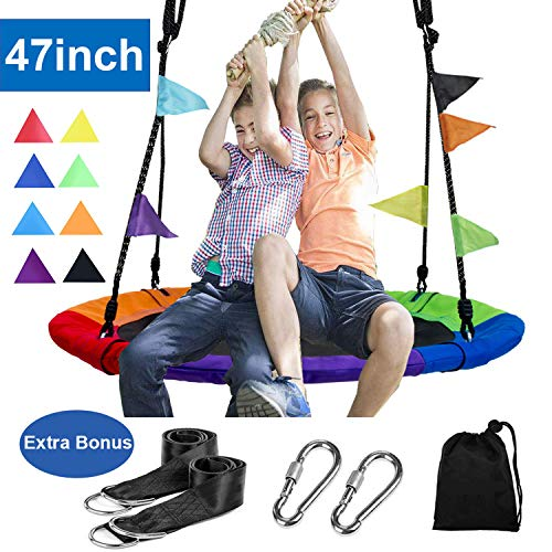"""Reliancer 47"""" Saucer Tree Swing for Backyard Kids w/8 Flags 2 Carabiners 10FT Tree Swing Straps 600lbs Weight Capacity 900D Oxford Weather Resistant Durable Steel Frame Adjustable Ropes to 63inch"""