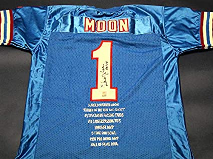 WARREN MOON AUTOGRAPHED HOUSTON OILERS STAT JERSEY HOLO at ...