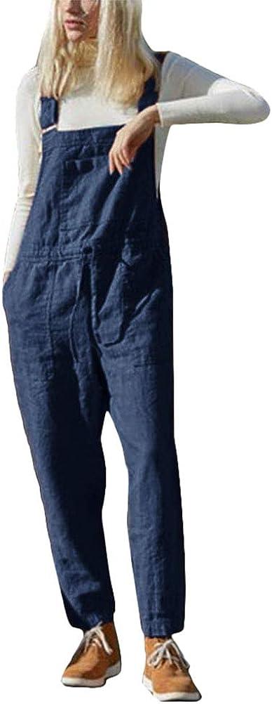 Tomwell Damen Beil/äufig Latzhose Jumpsuits Bib Hose Leinen Casual Baggy Retro Overall Lange Wide Leg Sommerhose mit Kordelzug