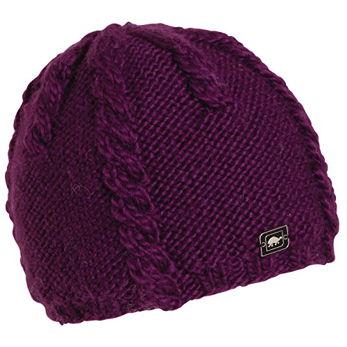 Turtle Fur Women's Cabler, Heavyweight Merino Wool Hand Knit Beanie, Eggplant