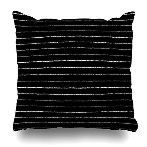 Pinstripe 16 - Ahawoso Throw Pillow Cover Bar Pinstripe Silver Iron Brush Stripes Strip Abstract Thin Pattern Line Design Steel Decorative Pillowcase Square Size 16