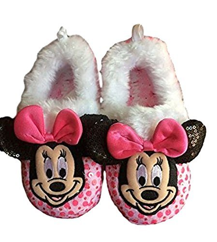 Image of Minnie Toddler Girls Slipper Pink Sequins Faux Fur Cuff 3D Accents Slip On (Small 5/6)