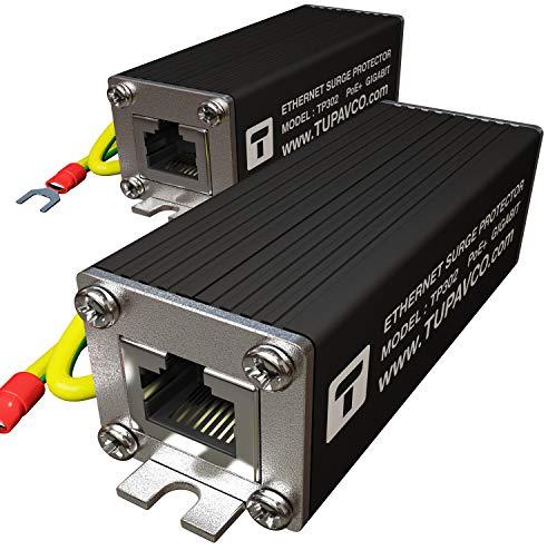 Ethernet Surge Protector (2 Pack) PoE+ Gigabit - Gas Discharge Tube for Full Protection -Mounting Flange- RJ45 Lightning Suppressor- LAN Network CAT5/CAT6 Thunder Arrestor GbE 1000 Mbps- Tupavco TP302 ()