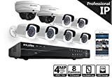 LaView 4-Megapixel 2688 x 1520, 16 CH PoE NVR Security Cameras System – 4MP 8 Security Camera System – 6 4MP Bullet and 2 4MP Dome IP Surveillance Cameras, 100ft Night Vision, 5TB Hard Drive