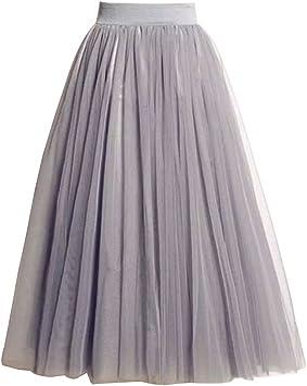Falda Mujer Largo Cintura Elástica Tul De Noche Fiesta Prom Falda ...