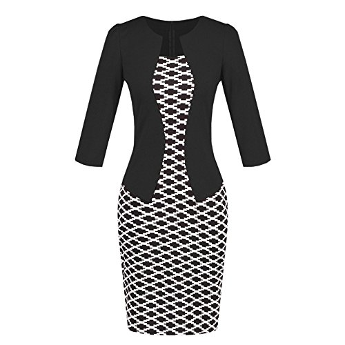 iLUGU O-Neck 3/4 Sleeve Knee-Length Dress for Women Suit Pat