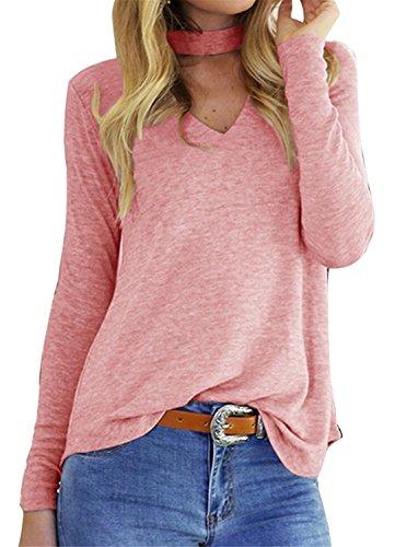 Worlsky Women Tops Long Sleeve Halter Neck Solid V Neck T Shirt As pictureUS Medium=China ()