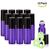 Olilia Glass Roll on Bottles with Metal Roller Balls, Essential Oils Opener included 12 Pack of 5ml (Lyons Blue)