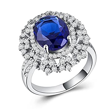 Gorgeous Wedding Engagement Ring 925 Silver Oval Cut Blue Sapphire Ring Size6-10
