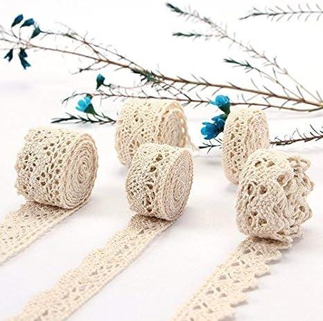 tobeit Vintage spitzenband 30 metros de algodón de color beige spitzenband absofine banda decorativa cinta Punta Plástico banda para costura artesanía