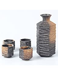 Miyare Japanese Style Ceramics Wine Set – 1 Sake Pot & 4 Cups, Six Different Patterns for Choice (Beauty of clay)