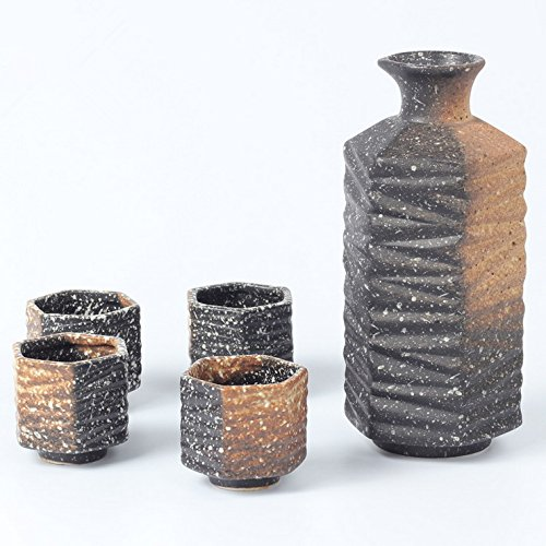 Miyare Japanese Style Ceramics Wine Set - 1 Sake Pot & 4 Cups, Six Different Patterns for Choice (Beauty of clay)