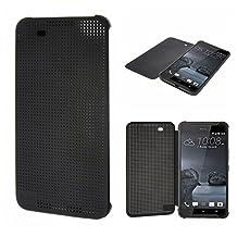 HTC A9 Case,Smart Wake Up / Sleep,HTC Dot View Case for HTC A9, Folio Dot View Cover Case For HTC A9(BLACK)