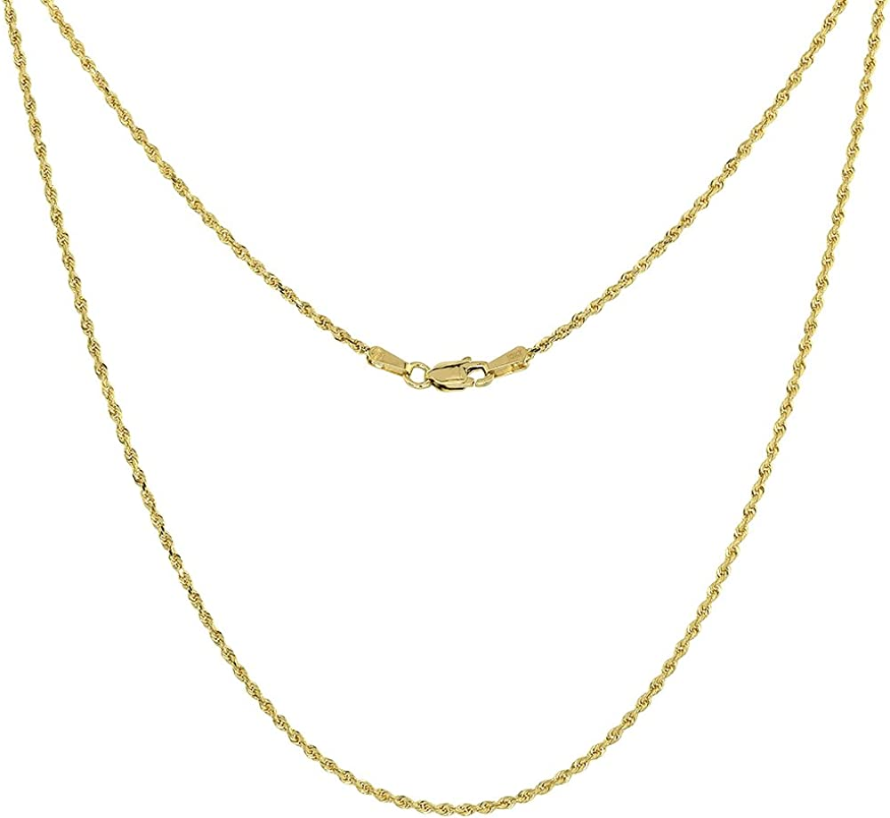Solid 10k Yellow Gold 1.5mm Diamond-Cut Rope Chain with Secure Lobster Lock Clasp