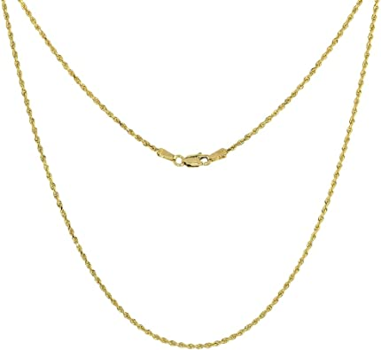 Amazon Com Solid Yellow 10k Gold Rope Chain Necklace 1 5 Mm Diamond Cut 16 Inch Jewelry