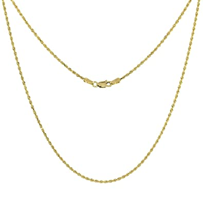 e320b6e142a7 Amazon.com  Solid Yellow 10K Gold Rope Chain Necklace 1.5 mm Diamond Cut 16  inch  Jewelry