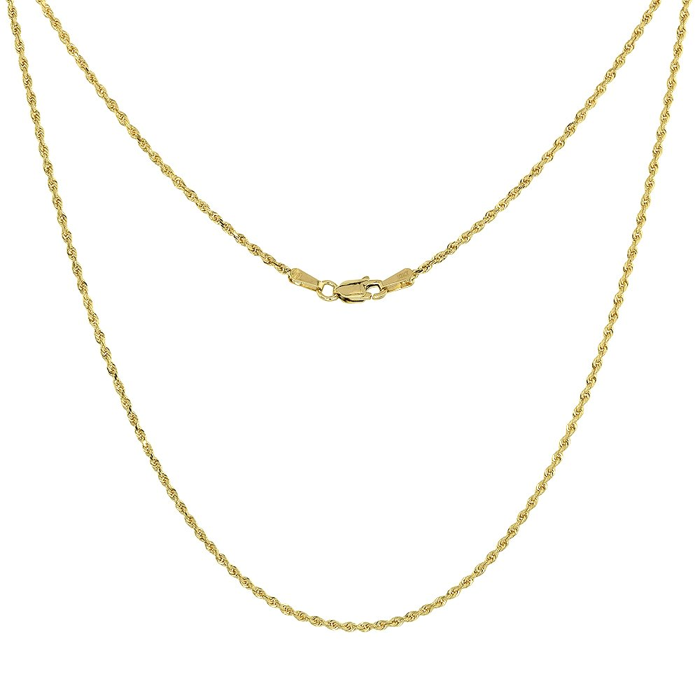 Solid Yellow 10K Gold Rope Chain Necklace 1.5 mm Diamond Cut 20 inch