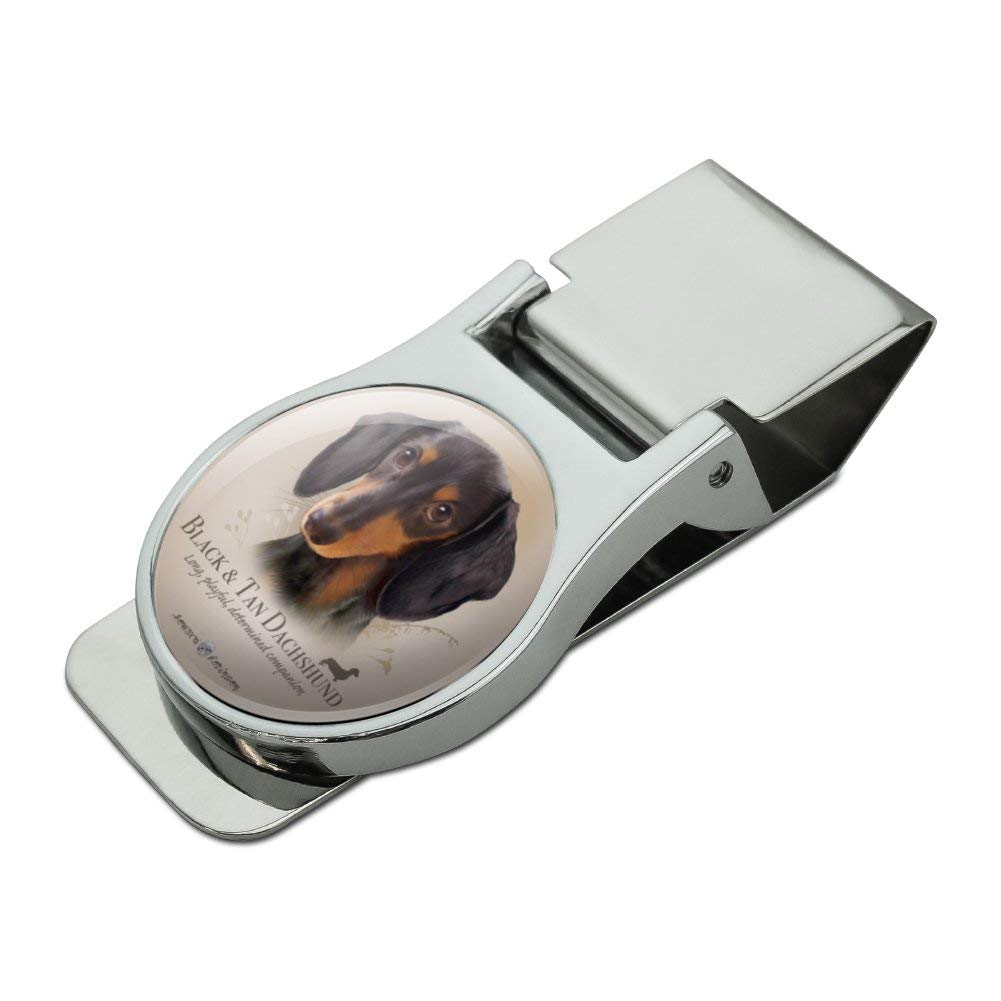 Black and Tan Dachshund Wiener Dog Breed Satin Chrome Plated Metal Money Clip