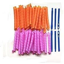 Bbshop Hair Curler Magic Spiral Ringlets Former Leverage Stretched Length 50CM Circle Roller Pack of 40(Orange+Pink)