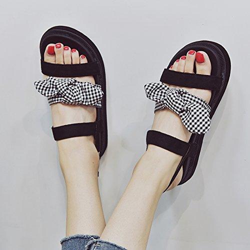 Bow Playa UE Toe Antideslizante Verano YMFIE Sandalias Sweet 35 Plano el de Moda Señoras' EU Fondo Calzado de 39 SHKq6wI