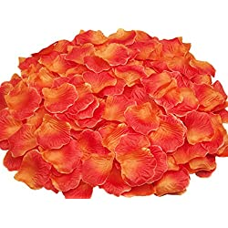 ocharzy 1000pcs Silk Rose Petals Wedding Flower Decoration (Orange+Red)