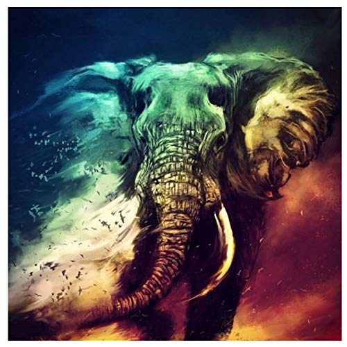 Leezeshaw 5D DIY Diamond Painting by Number Kits Fameless Rhinestone Embroidery Paintings Pictures for Home Decor - Elephant(7.9x11.8inch/20x30cm) ()