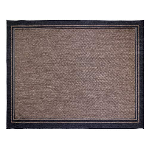 Gertmenian 21515 Coastal Tropical Carpet Outdoor Patio Rug, 8x10 Large, Black Border Dark -