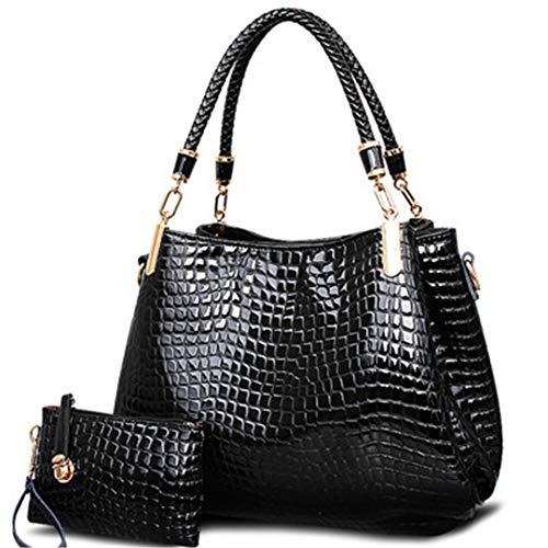 Black Femmes grande à Sacs Totes Crocodile à main capacité bandoulière main portefeuille Borse Lady Sac sac à BqwBnaFYH