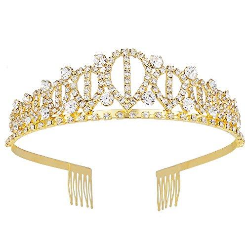 YUE DOU XIONG Wedding Party Crown Rhinestone Crystal Bride Hair Accessory Wedding Tiaras Headband Gold Tiara