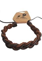 Brown Braided Leather Adjustable Hawaiian Surfer Bracelet