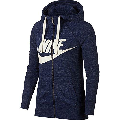 Nike Womens Gym Vintage Full Zip Hooded Sweatshirt Binary Blue/Sail 909097-429 Size Small