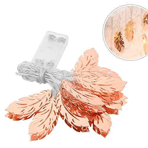 (LED String Fairy Light, 1.5m/3m Lamps Rose Gold Feathers Light Indoor Outdoor Battery Operated Hanging Lantern Warm White Lights for Bedroom Garden Wedding Party Christmas)