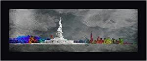 "Dark New York State of Mind by OnRei - 13"" x 30"" Black Framed Canvas Art Print - Ready to Hang"