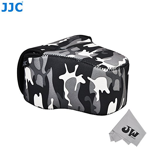 JW Camouflage Grey Lightweight Compact Neoprene Camera Case Bag For Canon EOS 700D 750D +18-55mm Fujifilm X-M1 X-T1+55-200mm FinePix HS50 Nikon D3300 D5300+18-55mm Lens + JW Cleaning Cloth (Camera Case Camouflage)