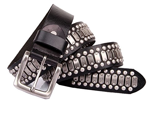 (Nite closet Punk Belt for Women/Men Double Rivets Black Leather Studded (Round rivets))