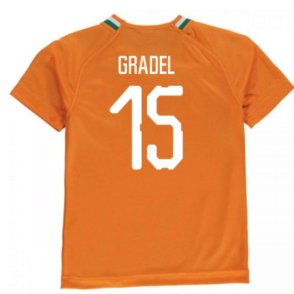 2018-19 Ivory Coast Home Football Soccer T-Shirt Trikot (Max Gradel 15) - Kids