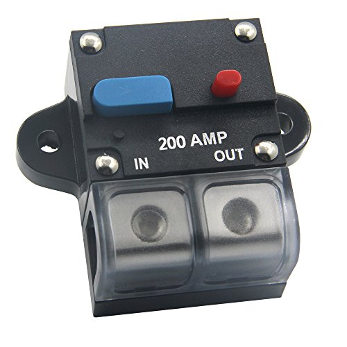 ZOOKOTO 12-24 Volt DC 200A Circuit Breaker, 0 or 4 Gauge Trolling Motor Auto Car Marine Boat Bike Stereo Audio Inline Fuse Holders Inverter - Bolt 200a