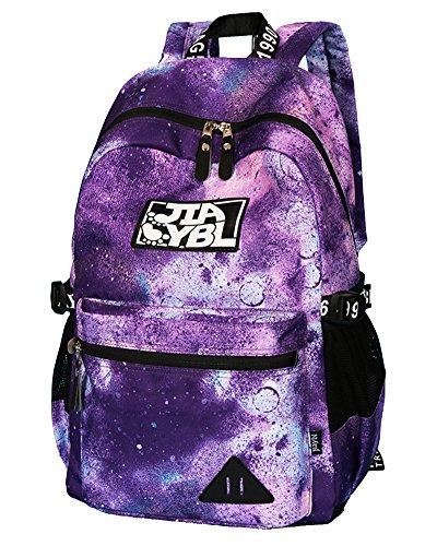 Zaino Donna Casual Zaini Scuola Galaxy Viaggio Borsa Backpack Porpora1
