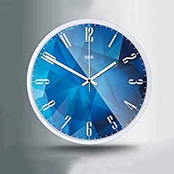 Ssflithuang Metallic Wall Clock Round Clocks and Watches Black Blue Modern Simple Mute Silent Suitable for Bedroom & Living Room (Color : D, Size : 30CM)