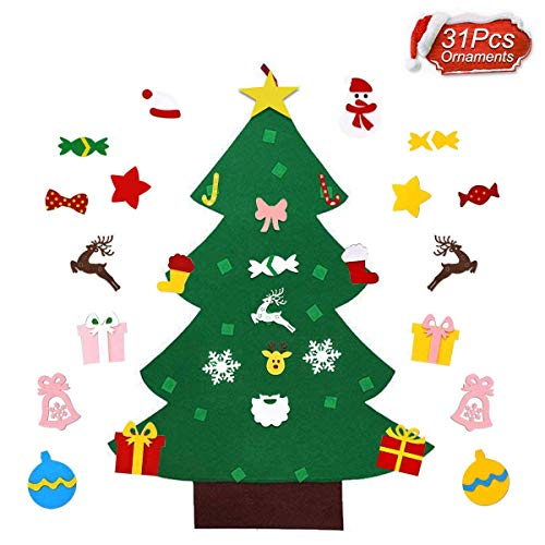 Decorate Door For Christmas (RUIZD Felt Christmas Tree DIY Felt Christmas Tree with 31 Pcs Detachable Ornaments Xmas Gift New Year Door Wall Hanging Decorations for Toddlers Kids (31)