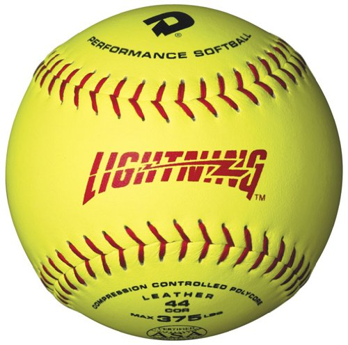 DeMarini Lightning ASA Series Slowpitch Leather Softball (12-Pack), 11-Inch, Optic Yellow by DeMarini