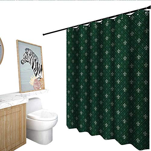 homecoco Fleur De Lis Funny Shower Curtain Ancient Baroque Pattern Medieval French Motifs Royal Ornate Classic Custom Shower Curtain Hunter and Sage Green