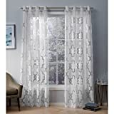 Exclusive Home Essex Geometric Sheer Burnout Window Curtain Panel Pair with Grommet Top, 52×108, Winter White, 2 Piece Review