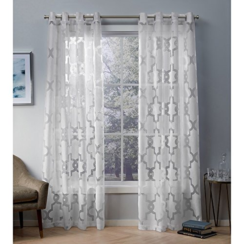 Exclusive Home Curtains Essex Geometric Sheer Burnout Window Curtain Panel Pair with Grommet Top, 52x108, Winter White, 2 Piece
