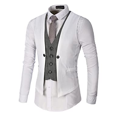 bf58b1571e46b9 Sunshey Mens Formal Regular Fit V-Neck Sleeveless Business Suit Jacket  Vests Casual Waistcoat (3XL