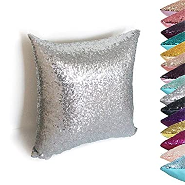 AMAZLINEN(TM) Decorative Glitzy Sequin & Comfy Satin Solid Throw Pillow Covers 18 Inch Square Pillow Case, Hidden Zipper Design, 1 Cover Pack Only(Silver)