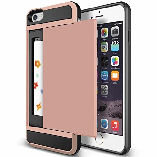 iPhone 6s Plus Case, Anuck Shockproof iPhone 6s Plus Wallet Case [Card Pocket] Anti-scratch Protective Shell Rubber Bumper Case with Slide Card Holder Slot for Apple iPhone 6 Plus 6s Plus - Rose Gold