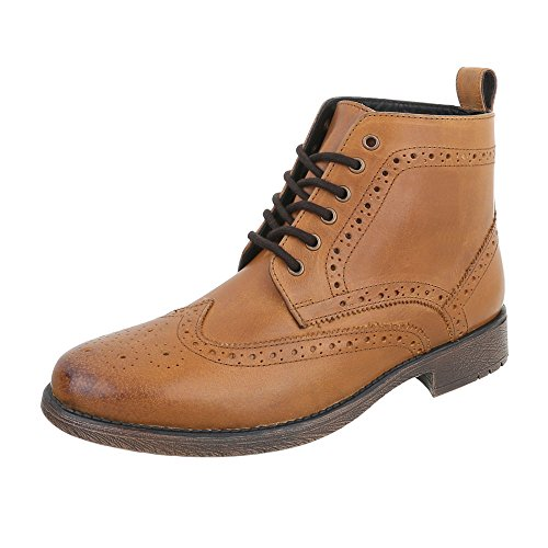 Stiefeletten Leder Herrenschuhe Chelsea Boots Blockabsatz Schnürer Schnürsenkel Ital-Design Boots Camel