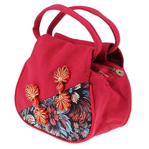 Homyl Estilo Nacional Bolsos de Mujer al Aire Libre Vintage de Tela Artesanía Manual Bordado Handbag para Móvil Rojo
